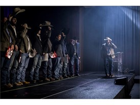 Competitors are introduced to the crowd during the Professional Rodeo Cowboys Association's welcome reception