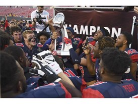 The Fresno State Bulldogs celebrate their win
