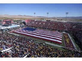 A U.S. flag covers the field