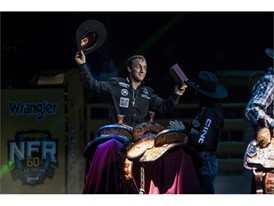 Sage Kimzey is introduced as bull riding aggregate champion
