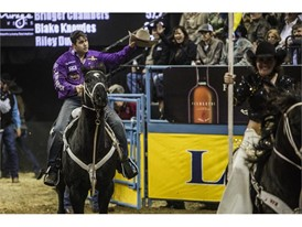 Tyler Waguespack is introduced as round champion of the steer wrestling portion