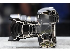 A Nikon D5 camera is displayed cut in half