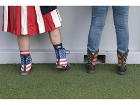 Fans in patriotic footwear