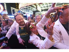 Rugby fans take photos