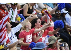 Fans cheer during the USA Sevens rugby tournament