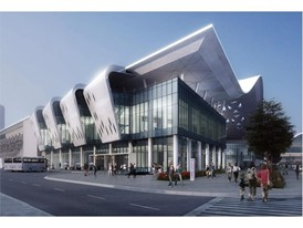 Artist conception of entrance to Las Vegas Convention Center Loop outside new convention hall