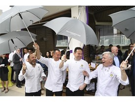 Chefs joke with umbrellas