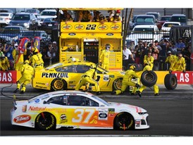 Joey Logano makes a pit stop