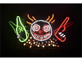 "The neon piece ""Guns 'n' Booze"""