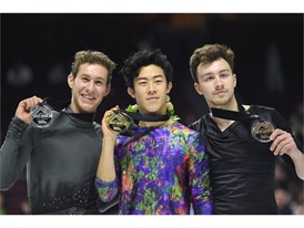 Silver medalist Jason Brown, gold medalist Nathan Chen and bronze medalist Dmitri Aliev