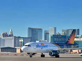 Allegiant Airlines flight 91 taxis to the gate