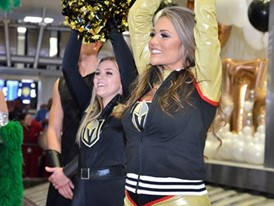 Members of the Vegas Golden Knights cheer team