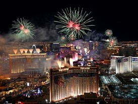 America's Party New Year's Eve fireworks spectacular in Las Vegas as seen from atop the Trump International Hotel