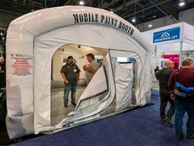 An inflatable mobile paint booth