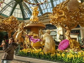 Visitors flock to the Bellagio Conservatory & Botanical Gardens