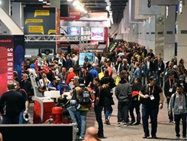 Attendees mill about during the World of Concrete show
