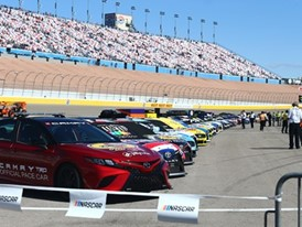 Cars lined up ahead of the NASCAR Cup Series Pennzoil 400