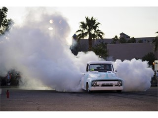 The burnout competition during the Mesquite Motor Mania car show