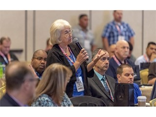 Sandi Cain of Trade Show Executive Magazine  asks a question during the International Tourism Security Conference