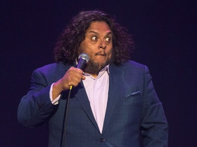 Comedian Felipe Esparza entertains the crowd in a packed house at The Joint