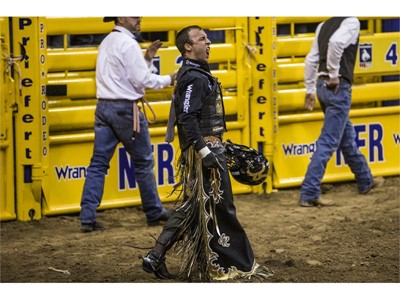 Sage Kimzey competes in the bull riding portion