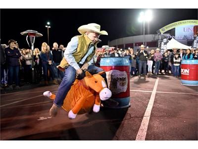 Fan Zone: Dalton Olson of Colorado participates in barrel race