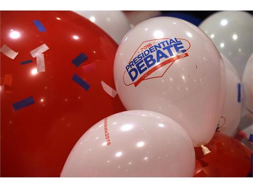Balloons from UNLV, LVCVA Presidential Debate press conference