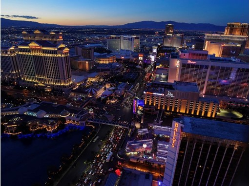 A view of the Strip with  Caesars, Bally's, Flamingo, Mirage, Treasure Island, Venetian and Cromwell