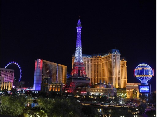 The Paris Las Vegas Eiffel Tower displays its new light show on its 20th anniversary