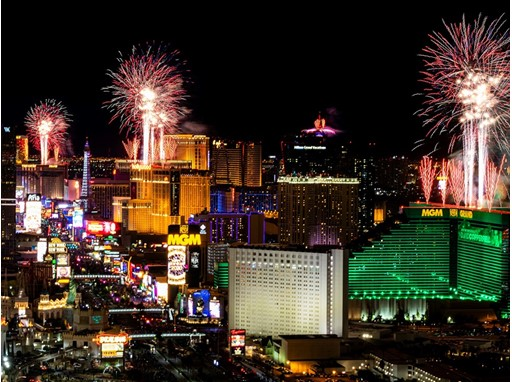 Fireworks explode above the Las Vegas Strip as seen from the Foundation Room at the Mandalay Bay Resort