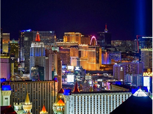 The Las Vegas Strip seen looking north from the Skyfall Lounge a top the Delano