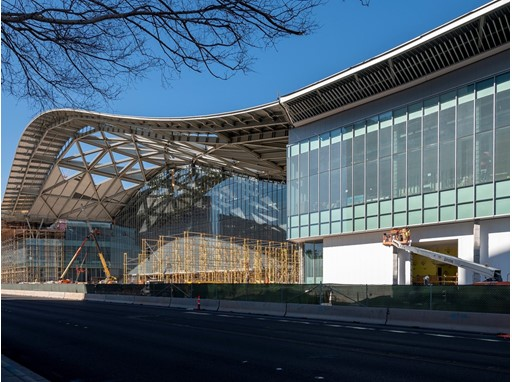 The grand entry of the West Hall is seen in this looking northwest along Convention Center Drive