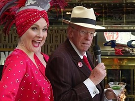 Host Committee Chairman Oscar B. Goodman Surprises Tourists in Downtown Las Vegas