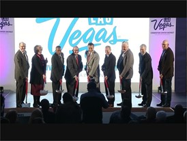 City, county and Las Vegas Convention Center officials pose with Nevada Gov Brian Sandoval for the ceremonial photo