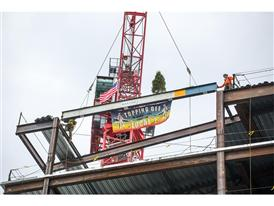 Warrior Ice Arena Office Beam Being Raised