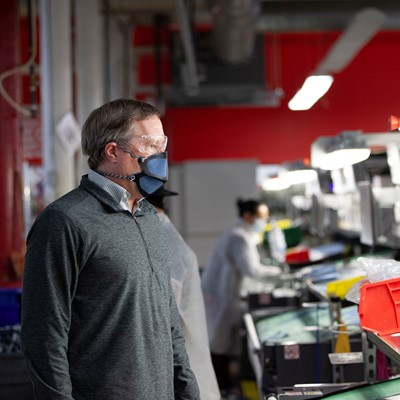 New Balance Executive Vice President of Global Supply Chain, Dave Wheeler, at the company's Lawrence, MA factory