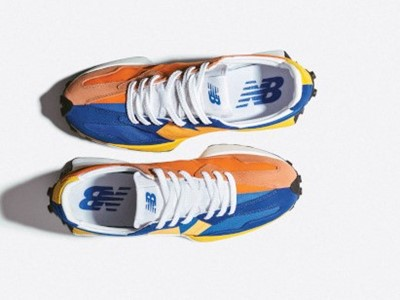 New Balance 327 in Marine Blue with Varsity Orange - Men's