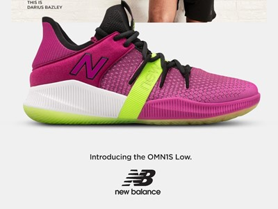 Team New Balance Athlete Darius Bazley - OMN1S Low Berry Lime Vertical Poster