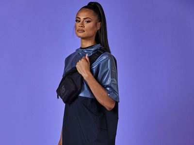 New Balance x Sydney McLaughlin Signature Collection - Poncho and Track Pant with Cross Body Bag and 327