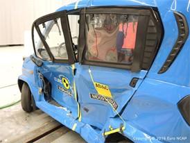 Bajaj Qute Side crash test 2016 - after crash