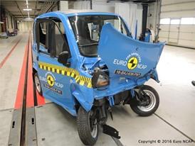 Bajaj Qute Frontal crash test 2016 - after crash