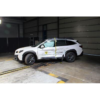 Subaru Outback - Side Mobile Barrier test 2021 - after crash