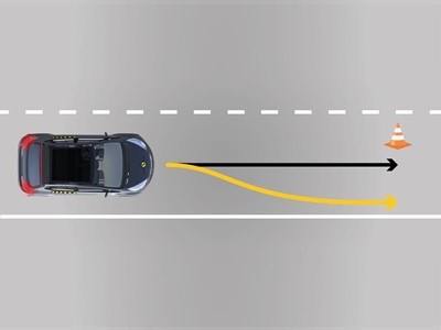 Steering to avoid an obstacle
