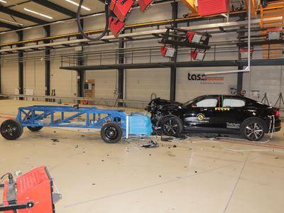Polestar 2 - Mobile Progressive Deformable Barrier test 2021 - after crash