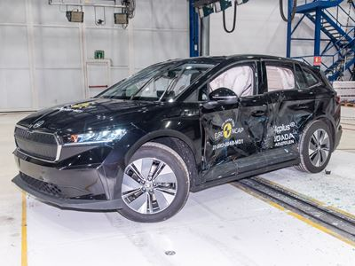 Škoda ENYAQ iV - Side Mobile Barrier test 2021 - after crash
