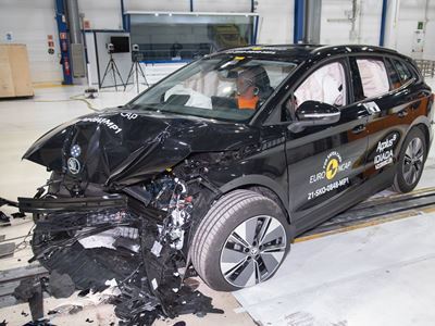 Škoda ENYAQ iV - Mobile Progressive Deformable Barrier test 2021 - after crash