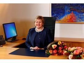 The new Norwegian Prime Minister, Ms Erna Solberg, in her new office