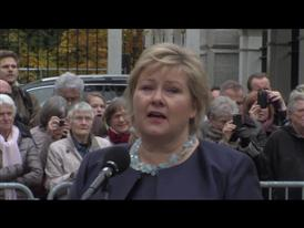 Ms Erna Solberg's speech outside the Royal Palace in Oslo