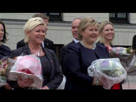 B-roll of the presentation of Norway's new government outside of the Royal Palace