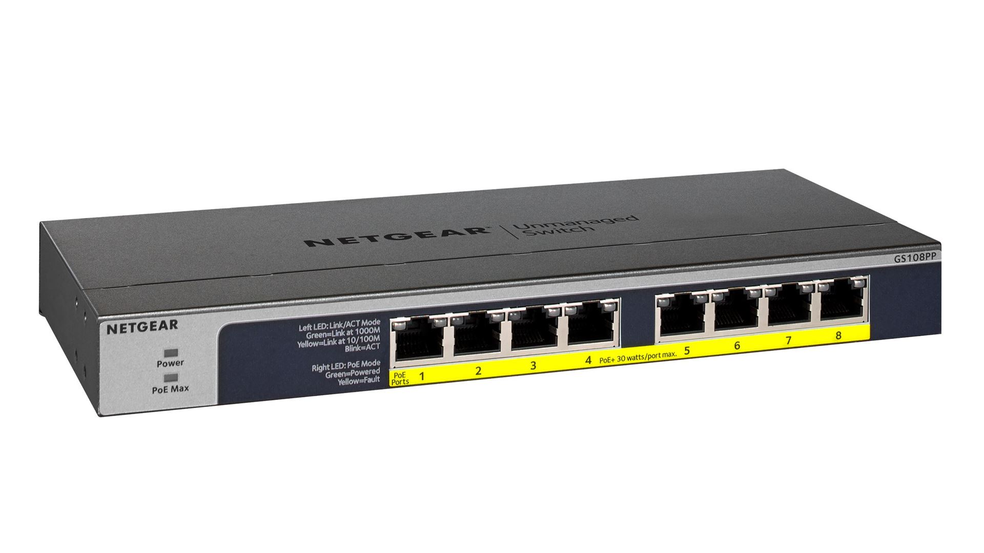 8-port Gigabit Ethernet Unmanaged High-Power FlexPoE PoE+ Switch with 8 PoE+ Ports (123W) - GS108PP - Right
